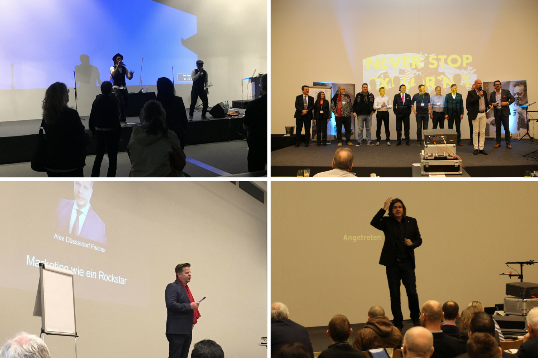 Bild vom Internet Marketing Kongress 2017, u.a. mit den Speakern, mit Johny Strange von Cucha Candela, Alex Düsseldorf Fischer und Hermann Scherer.
