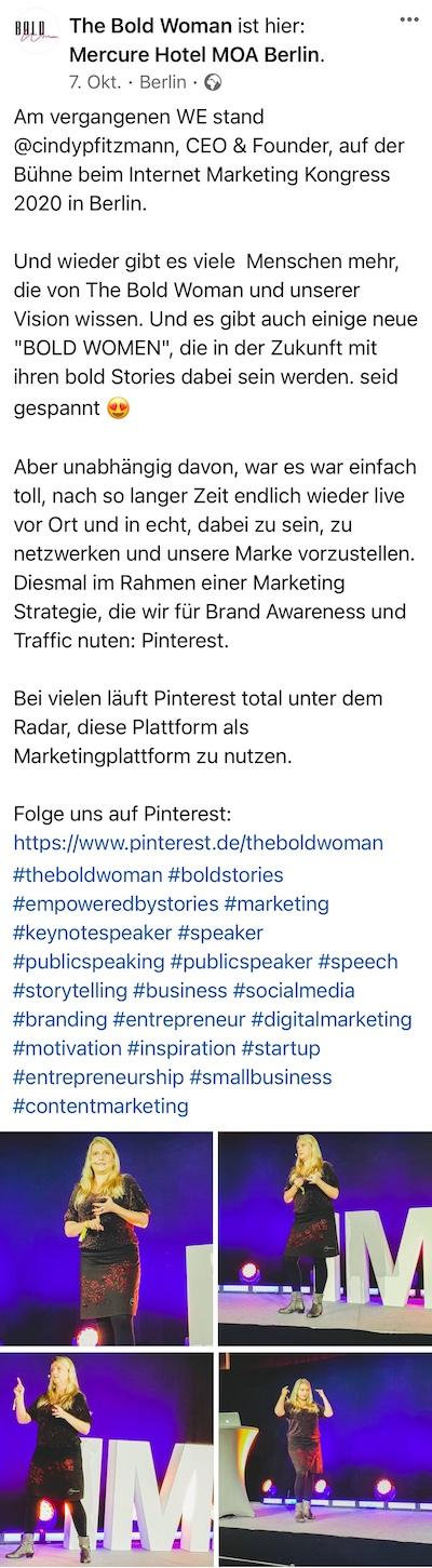 Feedback von Cindy Pfitzmann auf dem Internet Marketing Kongress 2020 von Heiko Häusler