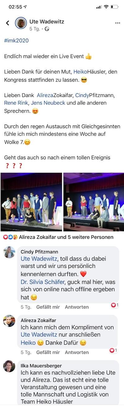 Feedback Ute Wadewitz Internet Marketing Kongress 2020 von Heiko Häusler